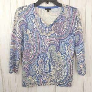 TALBOTS Cardigan Sweater Paisley Print Size XS